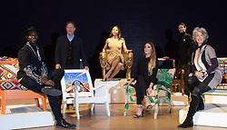 Bonhams, London, February 29th 2016. L-R Designer Samson Soboye, artist David Bent, Emma, Viscountess Weymouth of Longleat, Made In Chelsea's Victoria Baker-Harber and Mark Francis Vandelli and actress Maureen Lipman during a photocall for &quot;Sitting Pretty&quot;, featuring unique, hand painted and upholstered chairs made by 30 celebrities and artists, at Bonhams ahead of their auction in support of a leading AIDS charity, CHIVA Africa.<br /> &copy;Paul Davey<br /> FOR LICENCING CONTACT: Paul Davey +44 (0) 7966 016 296 paul@pauldaveycreative.co.uk