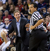 Mark Few, head coach of the Gonzaga Bulldogs, yells at the referee for a foul call in the first half of play at the McCarthey Athletic Center in Spokane, WA, Saturday, Jan. 31, 2015. (Ryan Sullivan/Gonzaga University)