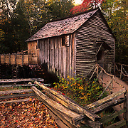 Working grist mill recalls a bygone era in Cade's Cove in Great Smoky Mountains National Park, TN.