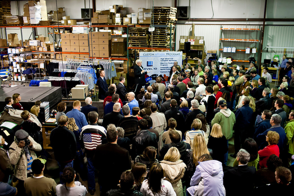 Republican presidential candidate Newt Gingrich speaks at a campaign town hall meeting at Level 10 Apparel on Monday, December 19, 2011 in Hiawatha, IA.
