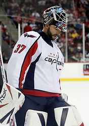December 7, 2007; Newark, NJ, USA;  Washington Capitals goalie Olaf Kolzig (37) during the second period at the Prudential Center in Newark, NJ.
