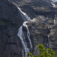 Europe, Norway, Olden. Volefossen Waterfall of Jostedalsbreen Glacier in Jostedalsbreen National Park.