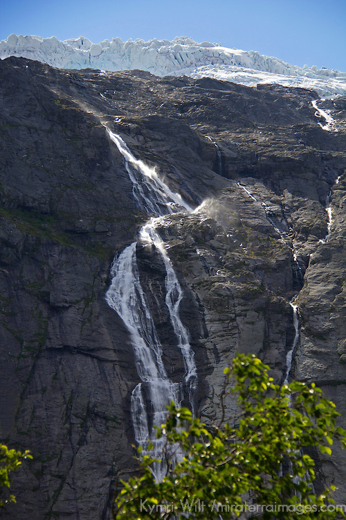 Europe, Norway, Olden. Volefossen Waterfall of Jostedalsbreen Glacier in Jostedalsbreen National Park.