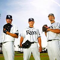 03/19/08--THIS IS FOR SEASON PREVIEW!!!!!! THIS IS FOR SEASON PREVIEW!!!!! THIS IS FOR SEASON PREVIEW!!!!!....TAMPA--Rays Pitchers (L-R) Matt Garza, Scott Kazmir, and James Shields at Progress Energy Park Wednesday. Photo by Julie Busch/staff