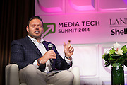 """Howard Mittman, Vice President & Publisher, GQ on panel. """"If Context Is King, Audiences Rule The Castle"""" at Media Technology Summit 2014 on October 23, 2014. The 7th Annual Media Technology Summit meticulously curates a gathering of global trailblazers, innovators and investors. Landmark Ventures and Shelly Palmer bring together their exclusive global networks of Fortune 500 executives, venture capitalists, entrepreneurs and luminaries; to do business at the nexus of content, hardware, software and brands. The Media Tech Summit 2014 offered a place for the brightest minds to challenge paradigms, forecast trends and innovations, and share their rebellious perspectives in order to establish individual strategies to move forward in this connected world. (Photo: Jeffrey Holmes)"""