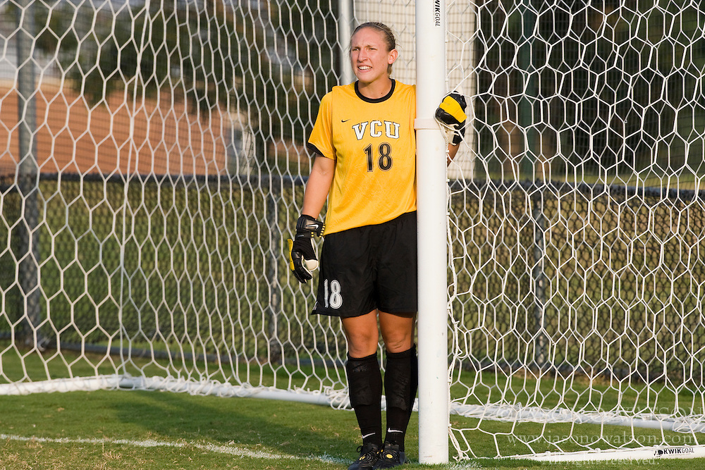 VCU Rams goalkeeper Lauren Hardison (18) orients her defense on a set kick.  The Virginia Cavaliers defeated the VCU Rams 5-0 in women's soccer at Klockner Stadium on the Grounds of the University of Virginia in Charlottesville, VA on August 31, 2008.