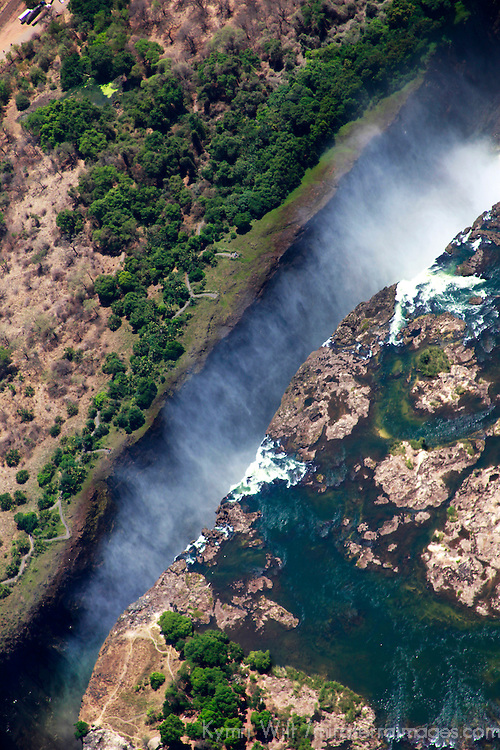 Africa, Zimbabwe, Victoria Falls. Victoria Falls forming the border between Zambia and Zimbabwe, by air.