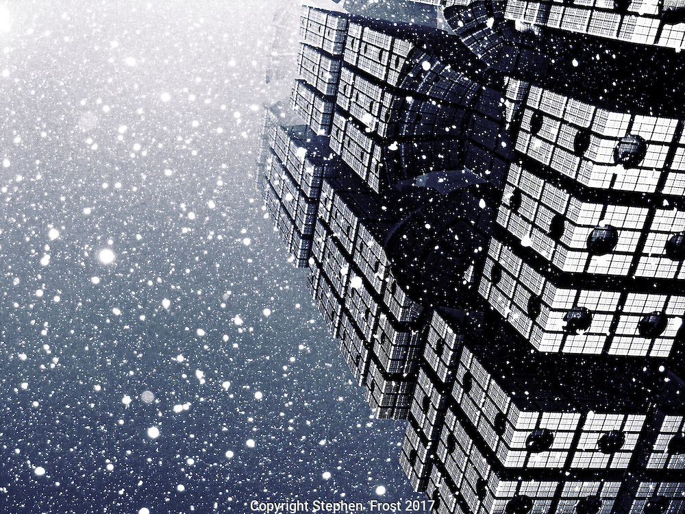 Digital image of an atmospheric snow scene with a futuristic tower, which was produced by fractals.