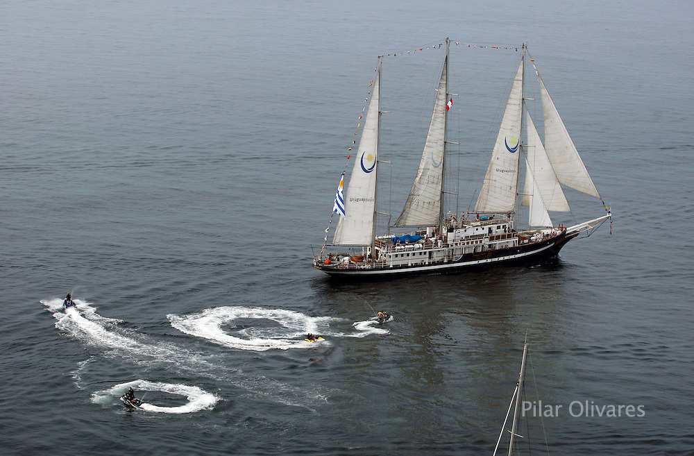 Uruguay registered sailing ship Capitan Miranda is seen taking part in the Bicentennial Regatta boat race in Callao Bay, April 27, 2010. The regatta is held to celebrate 200 years of independence in some Latin American countries.   .REUTERS/Pilar Olivares (PERU - Tags: SPORT YACHTING)