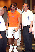 Raphael Nadal leaves the Don King and Nike presentation(press conference) ' Grapple in the Apple '  with Roger Federer and Raphael Nadal at The Madarin Oriental Hotel (North Salon) on August 21, 2008 in New York City