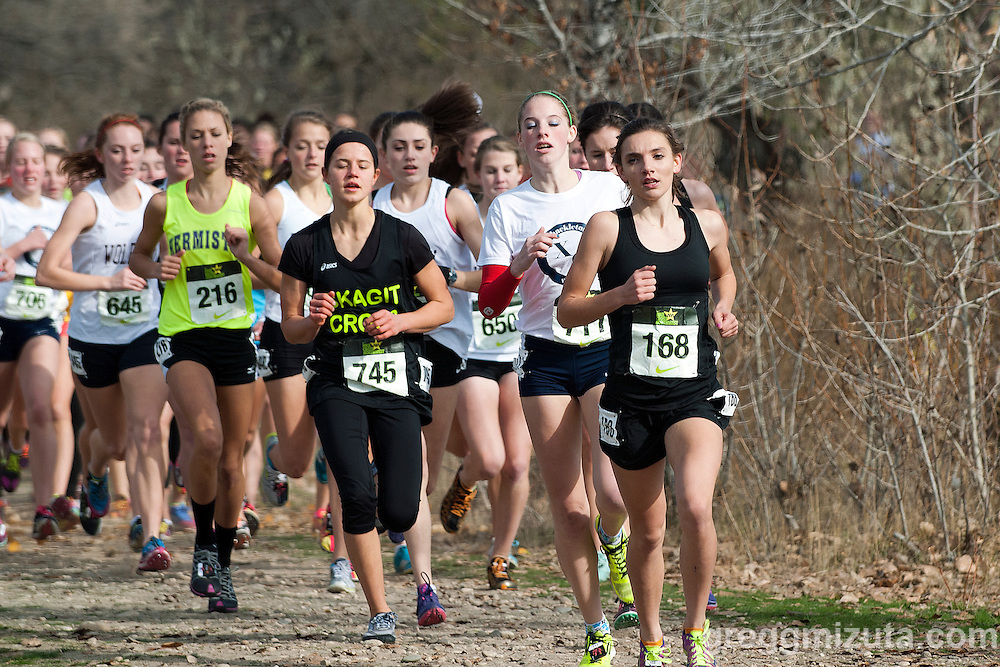 Eventual winner Mikala Malaspina takes the early lead in the girls varsity race (L to R: 645 Devon Bortfeld, 216 Katie Markwick, 745 Rayn Joy Norton, 711 Sam McKinnon, 168 Mikayla Malaspina) during the NXN Northwest Championships on November 10, 2012 at Eagle Island State Park in Boise, Idaho...Top finishers: 1st sophomore Mikayla Malaspina (18:49.8).  2nd freshman Sarah Christianson  (19:15.6), 3rd junior Elise Tello (19:22.0), 4th junior Rayn Joy Norton (19:23.8), 5th junior Sarah Medved (19:26.5), 6th senior Tori Klein (19:42.9), 7th junior Anastasia Kosykh (19:45.0), 8th senior Cheryn Trapp (19:48.80).