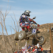 The ATVA MX National Feb 4-5, 2006 at Glen Helen. John Natalie Jr. (#13) celebrates over the final jump as he takes first place in Moto 1.