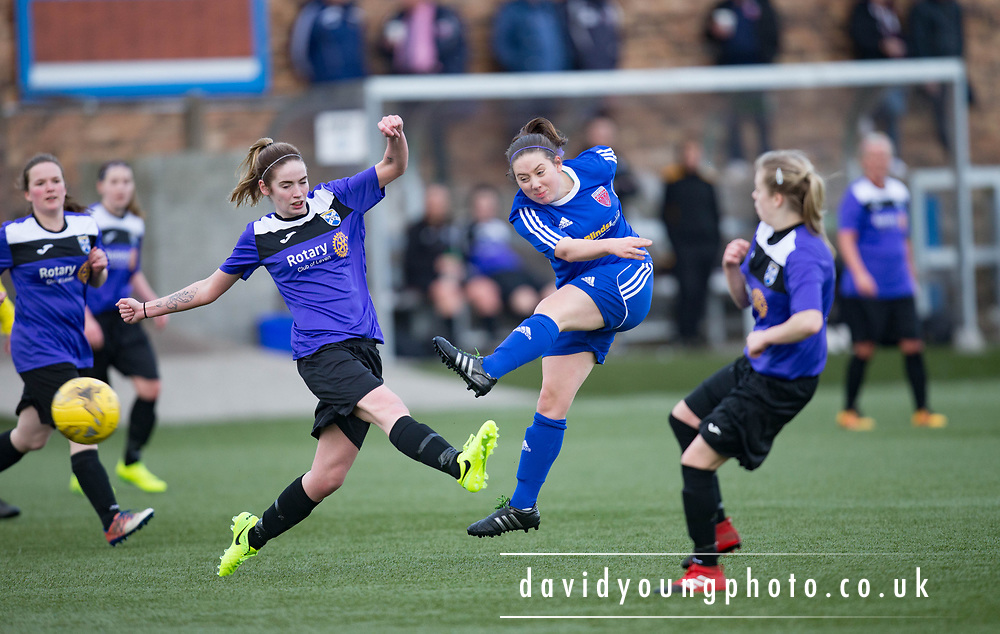 Farmington's Cheryl Kilcoyne fires in a shot in her side's 4-1 win over East Fife - Forfar Farmington v East Fife in the Scottish Womens' Premier League 2 at Station Park in  Forfar : Image &copy; David Young<br /> <br />  - &copy; David Young - www.davidyoungphoto.co.uk - email: davidyoungphoto@gmail.com