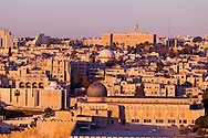 Morning sun illuminates the Al Aqsa mosque on the Temple Mount, and the Jewish Quarter of the Old City of Jerusalem, in this view from the Mount of Olives. WATERMARKS WILL NOT APPEAR ON PRINTS OR LICENSED IMAGES.