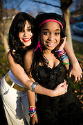 "ELK GROVE, CALIFORNIA - DECEMBER 17: Ola Ray, who co-starred with Michael Jackson in his ""Thriller"" music video, poses for a portrait with her 14-year-old daughter Iam Ray, right, December 17, 2009 in Elk Grove, California.  (Photo by Max Whittaker/Getty Images for Stern)"