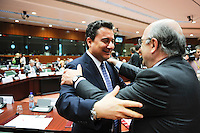 EU economic and monetary affairs commissioner Joaquin Almunia (R) greets Turkish Finance Minister Ali Babacan  at the start of The Council of European Union Finance Ministers (ECOFIN)  in  Brussels, Belgium on 2009-05-05  © by Wiktor Dabkowski ..POLAND OUT