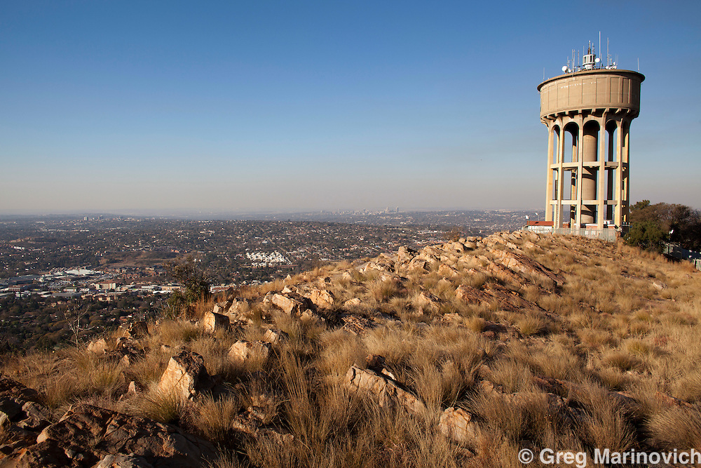 Northcliff, northern Johannesburg. View to Sandton City past the water tower. August 13, 2010. Winter. Photo Greg Marinovich / StoryTaxi.com