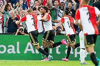 ROTTERDAM - Feyenoord - FC Utrecht , Voetbal , Seizoen 2015/2016 , Eredivisie , Stadion de Kuip , 08-08-2015 , Speler van Feyenoord Colin Kazim-Richards (2e l) scoort de 1-0 en viert dit met Sven van Beek (l) en Bilal Basaçikoglu (r)