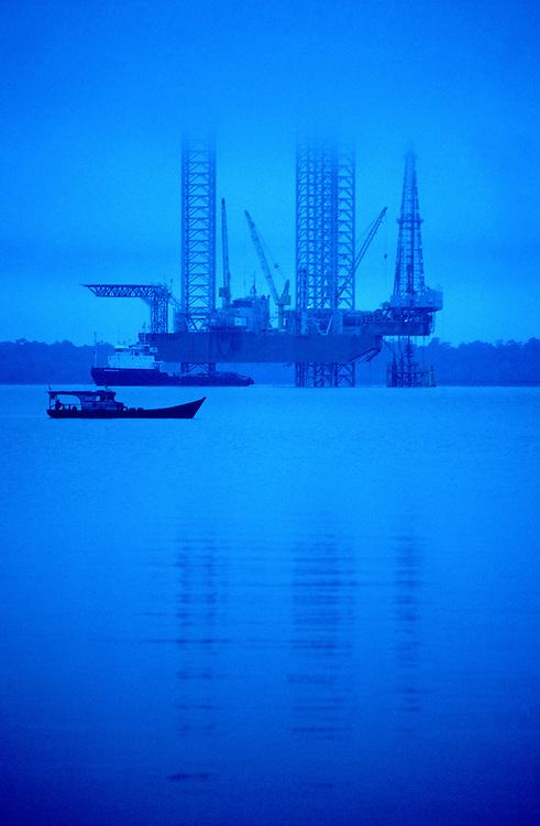 Jackup drilling rig offshore Sumatra.