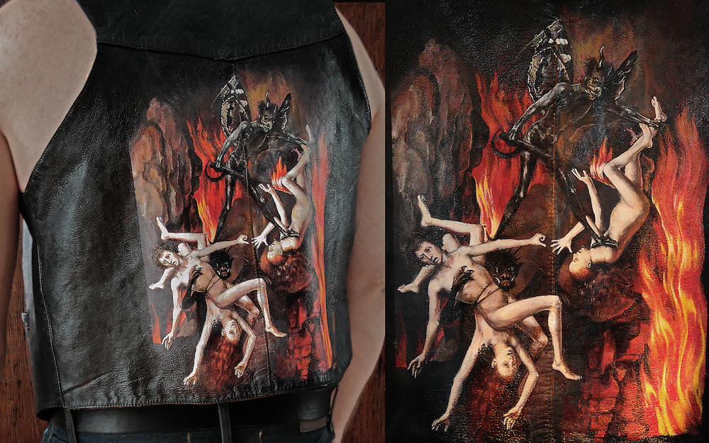 Painstakingly hand painted (acrylic on leather vest) over the course of two months by Worthless. A tribute to Hans Memling's Last Judgement Triptych circa 1467-1471. This vest is for sale. Contact master@worthlessendeavors.com  for serious inquiries, and more details.