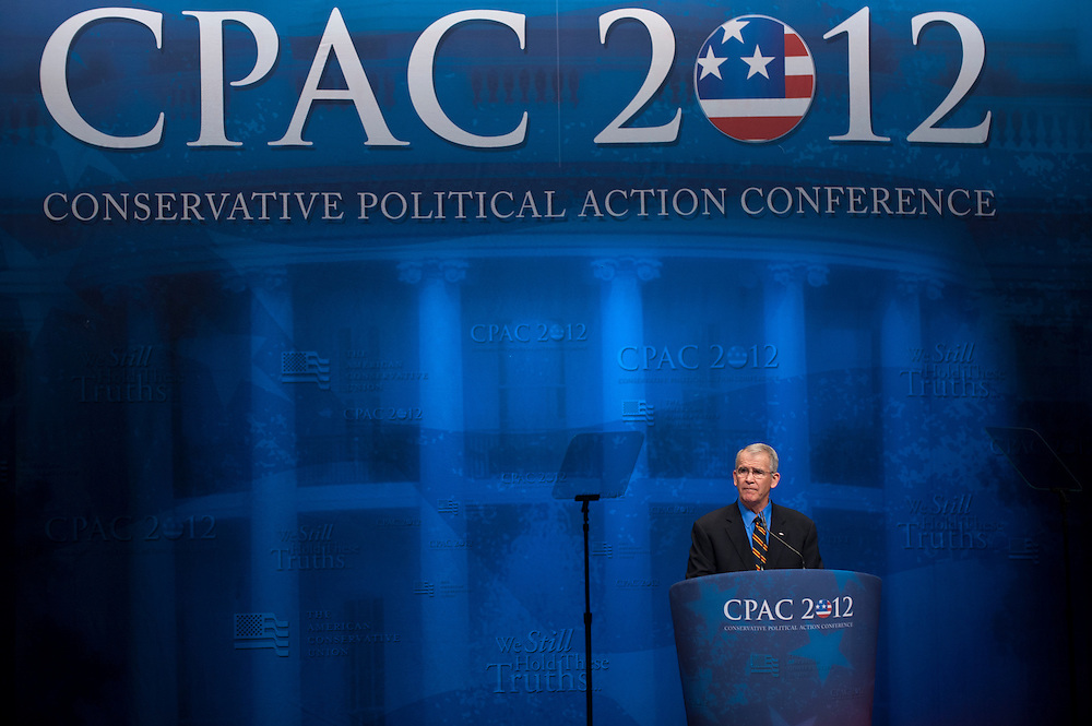 """Syndicated Columnist, and Host, FOX News Channel's """"War Stories"""", LtCol OLIVER NORTH, USMC (Ret.) speaks at the annual Conservative Political Action Conference (CPAC) in Washington, D.C. on Thursday. ..CPAC, which began in 1973, attracts more than 10,000 people and The American Conservative Union, which runs it, announced it expected 1,200 members of the media."""