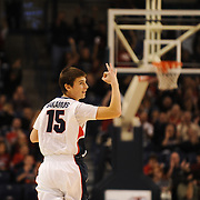 Freshman Rem Bakamus celebrates after making his first three-pointer for the Zags vs. Southern Utah<br />