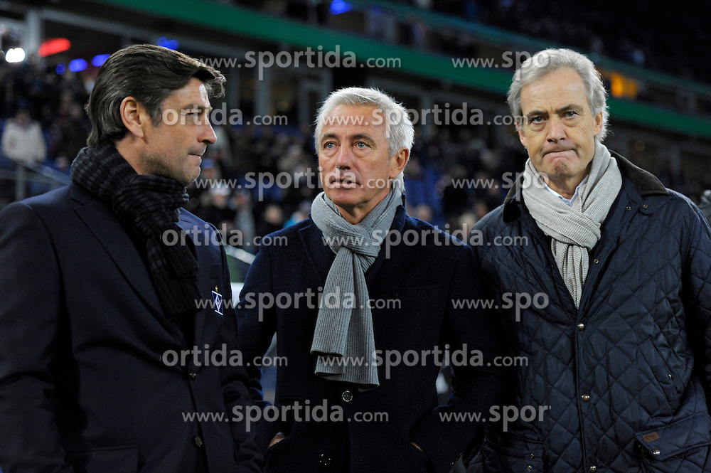 Football: Germany, DFB-Pokal, Hamburger SV - FC Bayern Muenchen, Muenchen, 12.02.2014<br /> Sportdirektor Oliver Kreuzer (director of sports),coach Bert van Marwijk (l.) and Vorstandsvorsitzender Carl Edgar Jarchow (Hamburg, from left)<br /> &Atilde;'&Acirc;&copy;&Atilde;'&Acirc;&nbsp;pixathlon