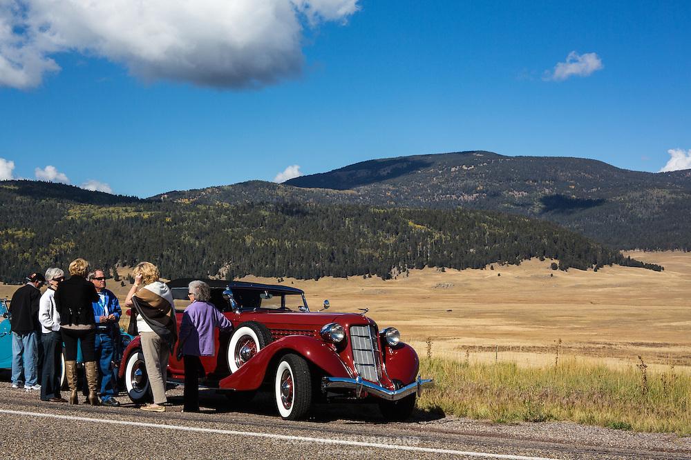 Concorso at Valles Caldera parking area. 2012 Santa Fe Concorso High Mountain Tour.