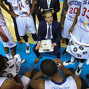 Delaware 87ers Head Coach Kevin Young (CENTER) seen during a time out in the first half of a NBA D-league regular season basketball game between the Delaware 87ers (76ers) and the Sioux Falls Skyforce (Miami Heat) Tuesday, Dec. 2, 2014 at The Bob Carpenter Sports Convocation Center in Newark, DEL