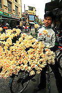 Rose Vendor - One of the most enduring images of Hanoi is that of its ubiquitous vendors peddling bushels of fresh roses and other items from the back of a bicycle or baskets balanced on bamboo shoulder poles, fresh fruit or flowers are very much part of Hanoi's scene.