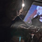 10/23/11 Philadelphia PA: Guest hairstylist Nadine from RICHARD NICHOLAS studios in Philadelphia working during TEASE exhibition Sunday, Oct. 23, 2011 at National Mechanics in Philadelphia Pennsylvania...Monsterphoto/SAQUAN STIMPSON