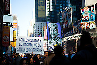 Labor protesters in Times Square, Manhattan, New York City, New York.