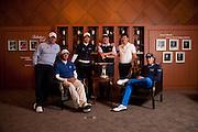 Ballantine's Championship pre-tournament photocall. L-R Dustin Johnson, Ian Poulter, YE Yang, Lee Westwood and Miguel Angel Jiminez.