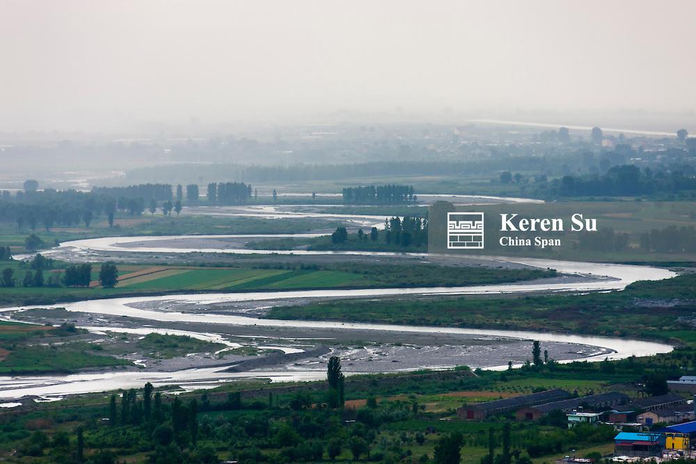 Aerial view of River Osum flowing through Berat, Albania