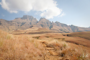 Walking trail into the Drakensberg Mountains, South Africa
