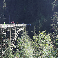 State Route 165 spanning the Carbon River  south of Carbonado.<br /> <br /> Also known as the James R. O'Farrell Bridge or the Carbon River Bridge - built in 1921 -  at the time it was the highest bridge in WA state (WSDOT).