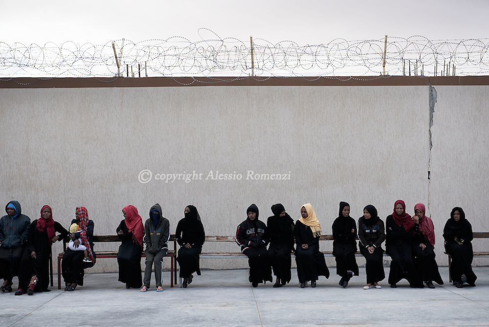Libya, Misurata: women who claim to have being used as sex slaves by ISIS member in Sirte are seen inside the Libyan airforce compound in Misurata. Alessio Romenzi