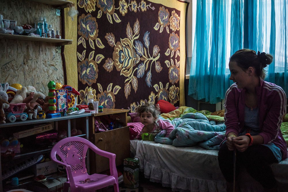 Natasha Kaporina's two daughters at Romashka, a summer camp where they and several hundred other people live after being displaced by fighting in Eastern Ukraine on Friday, February 13, 2015 in Kharkiv, Ukraine.