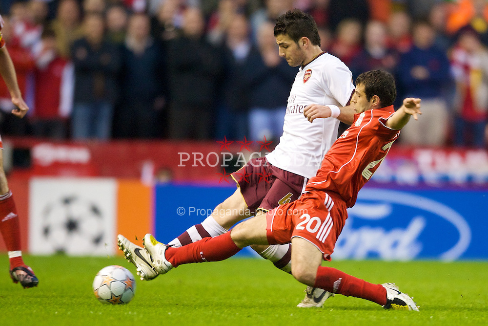 LIVERPOOL, ENGLAND - Tuesday, April 8, 2008: Liverpool's Javier Mascherano and Arsenal's Cesc Fabregas during the UEFA Champions League Quarter-Final 2nd Leg match at Anfield. (Photo by David Rawcliffe/Propaganda)