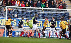 Partick Thistle's Andy Dowie (5) scoring their first goal..Falkirk 0 v 2 Partick Thistle, 20/4/2013..© Michael Schofield.