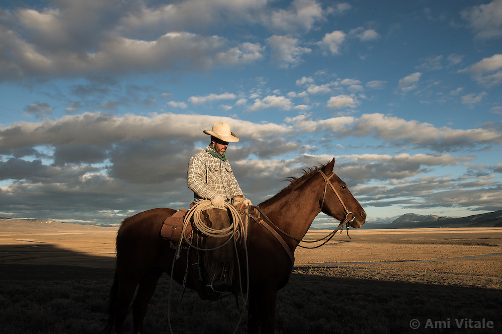 "Bryan Ulring, manager at the J Bar L ranch in the Centennial Valley of southern Montana, goes for a sunset ride on a chilly November day. The J Bar L ranch finish their cattle on grass, in contrast to the vast majority of ranches in the U.S. that send cattle to feedlots. The 2,000 head at J Bar L ""never go into a feedlot,"" Ulring said. He added that the J Bar L is one of the biggest grass finishers in the state. The Centennial Valley is an important wildlife corridor for elk, moose, antelope, deer, wolverines, grizzly bears, wolves and hundreds of bird species. The valley is largely owned by a handful of large ranches, which means their use of the land impacts the local environment. © Ami Vitale"