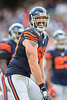 CHICAGO, IL - SEPTEMBER 13:  Jared Allen #69 of the Chicago Bears talks with the offense of the Green Bay Packers during a time out at Soldier Field on September 13, 2015 in Chicago, Illinois.  The Packers defeated the Bears 31-23.  (Photo by Wesley Hitt/Getty Images) *** Local Caption *** Jared Allen