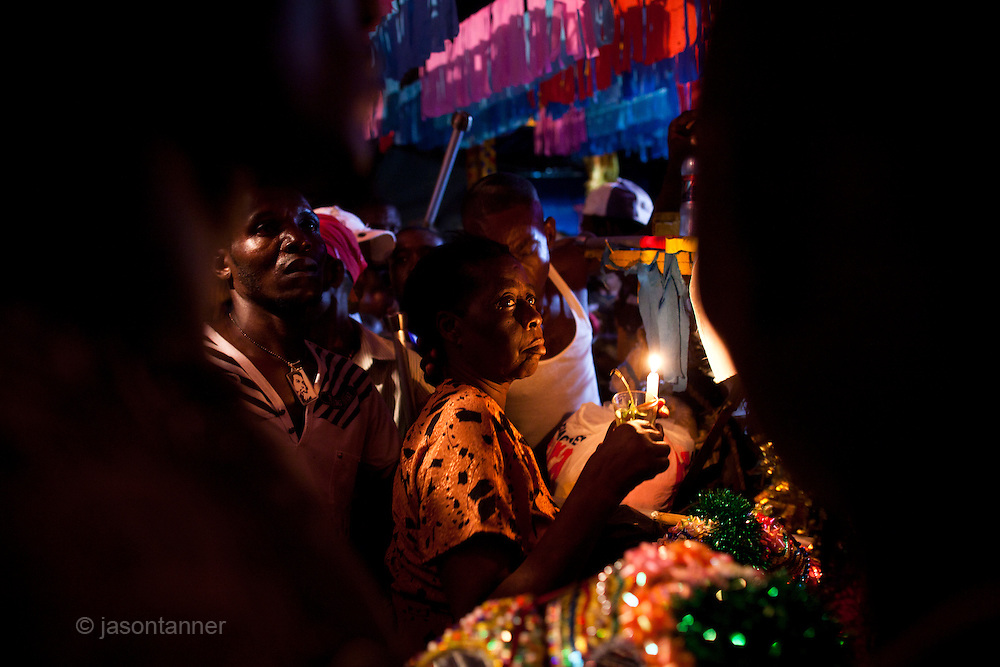 Dominican Republic: A Vodú priestess performs a blessing ritual at the compound of Bleo, a Vodú  priest and head of El GaGá de San Luis on the outskirts of Santo Domingo...