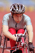 Female wheelchair racer lines up at the start of a race. © Martin Jenkinson