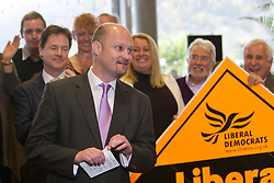 © Licensed to London News Pictures. 08/04/2013. St Austell, UK. Liberal  Democrat candidate for Cornwall Council, Jeremy Rowe addresses supporters along with Deputy Prime Minister, Nick Clegg at The Eden Project. Photo credit: Ashley Hugo/LNP