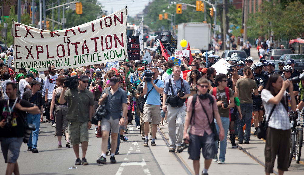 Environmental protestors took to the streets in Toronto, June 23, 2010 to voice their concerns ahead of the G8/G20 this weekend. The city is preparing for more demonstrations as the summit approaches.<br /> AFP/GEOFF ROBINS/STR