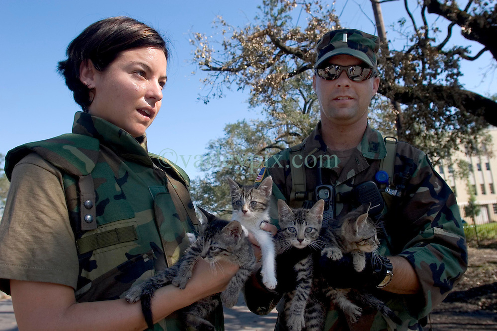 08 Sept 2005. New Orleans, Louisiana.  Hurricane Katrina aftermath. <br /> L/R; Sgt April Albers and Lt Gerald of the 769th Engineer Battalion rescue 4 kittens from devastated Uptown New Orleans.<br /> Photo; &copy;Charlie Varley/varleypix.com