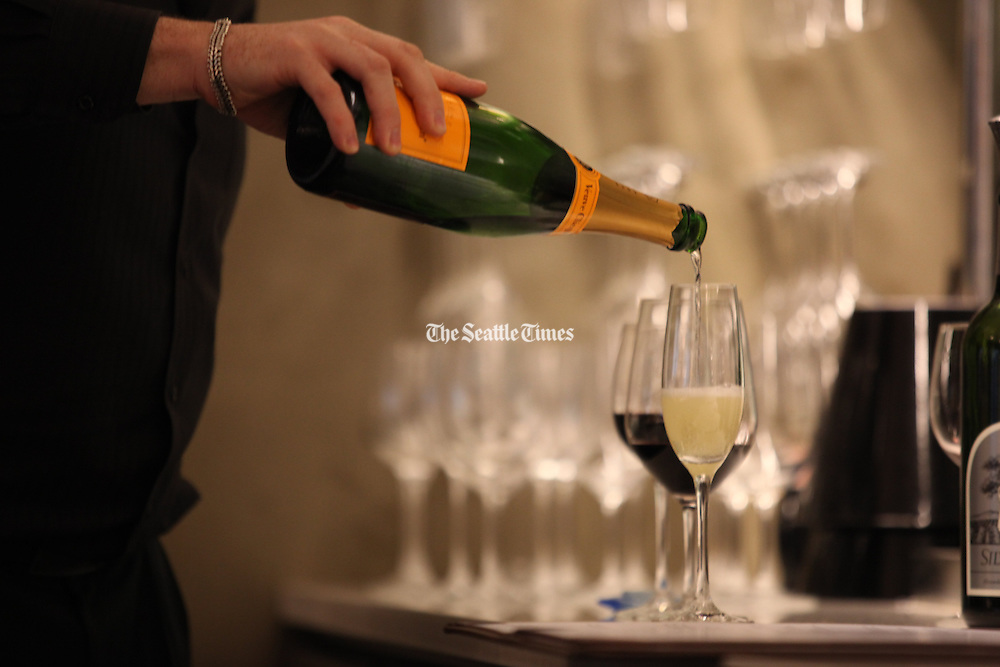 Wine being served at Fonte Coffee Roaster Cafe and Wine Bar in Seattle.<br />