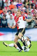 ROTTERDAM - Feyenoord - FC Utrecht , Voetbal , Seizoen 2015/2016 , Eredivisie , Stadion de Kuip , 08-08-2015 , FC Utrecht speler Chris Kum (r) met tackle op Speler van Feyenoord Dirk Kuyt (voor)