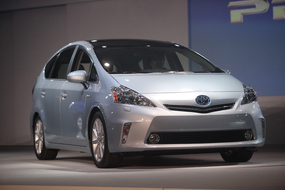 GR --- Detroit, Michigan ---11-01-10--- Toyota unveils its Prius V Hybrid at their press conference at  the North American International Auto Show in Detroit, Michigan January 10, 2011.<br /> Geoff Robins AFP